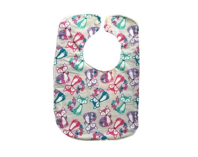 Fox Bib, Snap Close Baby Bib