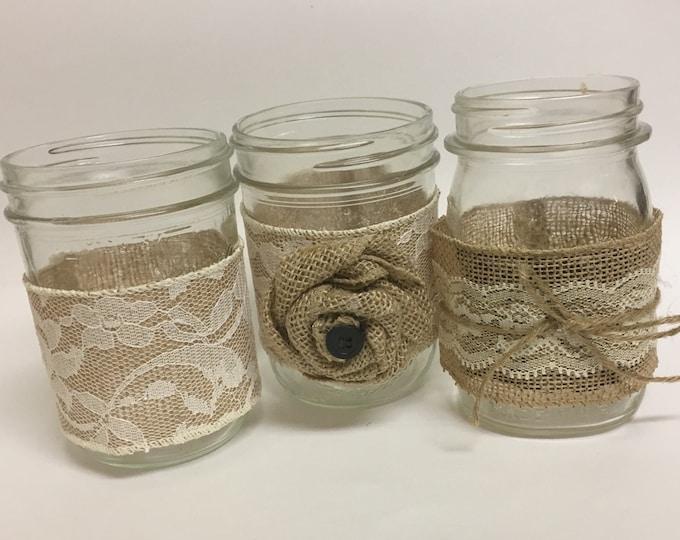 Velcro Mason Jar Wrap, Rustic Centerpiece