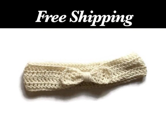 White Bow Crochet Ear Warmer