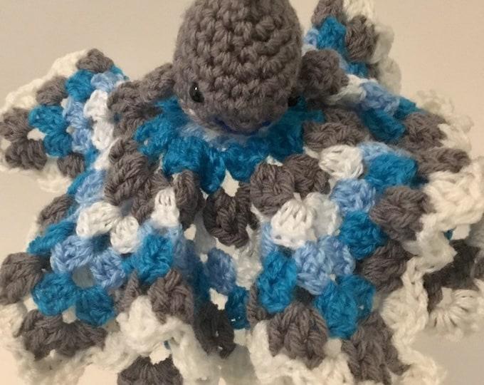 Crochet Lovey, Shark, Shark, Security Blanket, Baby Blanket, Baby Shower Gift, Lovey Blanket, Baby Gift, Baby Boy, Baby Boy Gift, Boy
