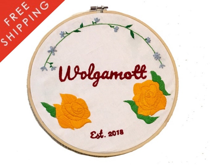 Custom Embroidery Last Name Sign, Hoop Art, Embroidery Hoop Art, Last Name Sign, Custom, Gift, Wedding Gift, House Warming
