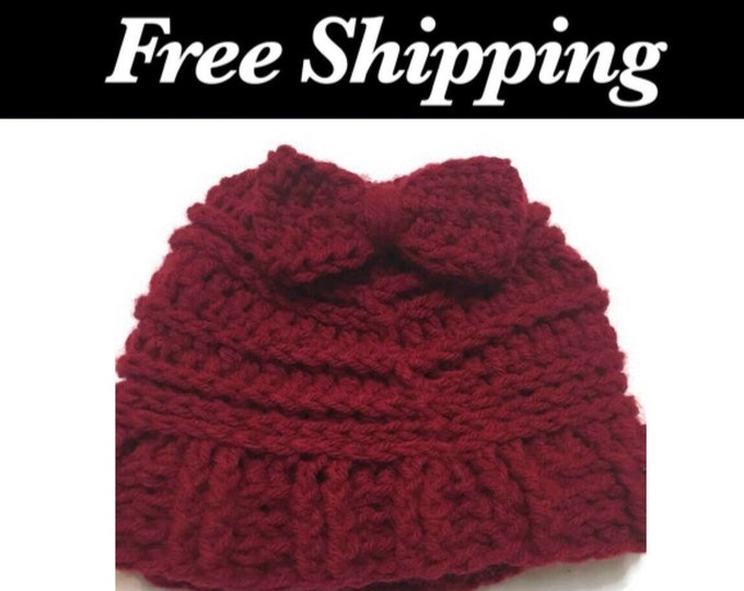 Red Messy Bun Hat