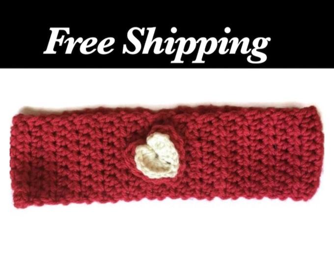 Crochet Headband, Heart Ear Warmer