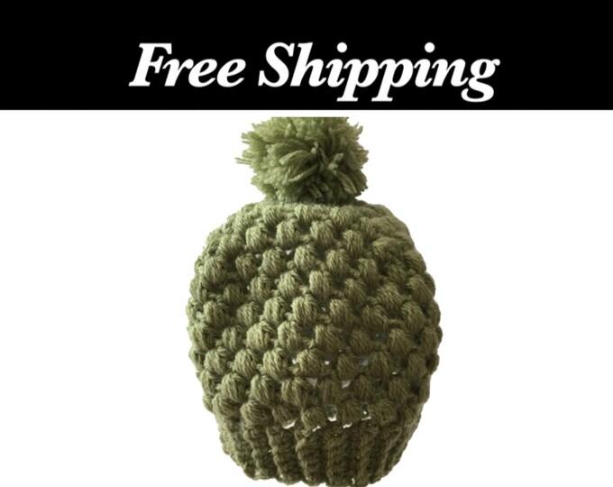 Green Crochet Puff Stitch Hat
