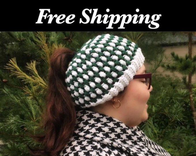 Green and White Crochet Hat
