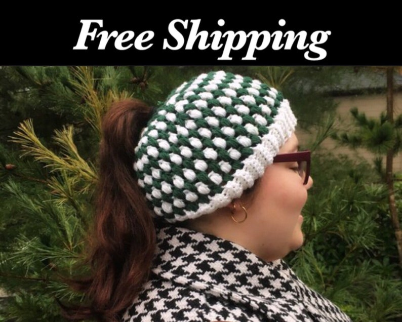 Green and White Crochet Hat Free Shipping Photo Prop image 0