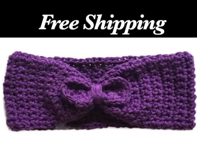 Purple Bow Crochet Ear Warmer
