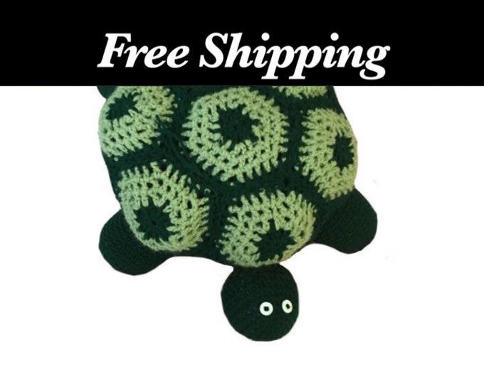 Large Green Crochet Turtle