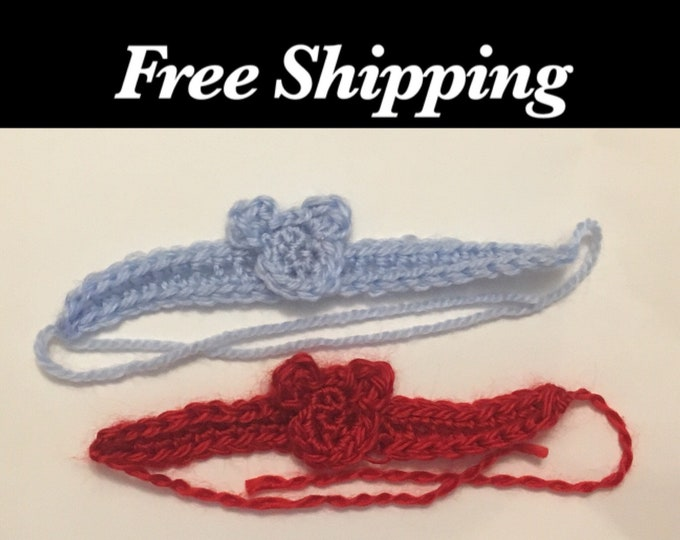 Twin ID Bracelet, Twin ID Anklets, Free Shipping, Teddy Bear Baby Bracelet, Twin Bracelets, Baby Anklet, Crochet ID Bracelet, Teddy Bear
