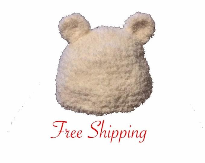 White Crochet Bear Hat, Beanie, Free Shipping, Crochet Hat, Bear, Baby Shower Gift, New Mom Gift, New Baby Gift, Womens Hat, Kids Hat, Baby