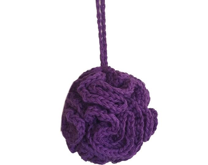 Purple Crochet Bath Pouf, Eco-Friendly