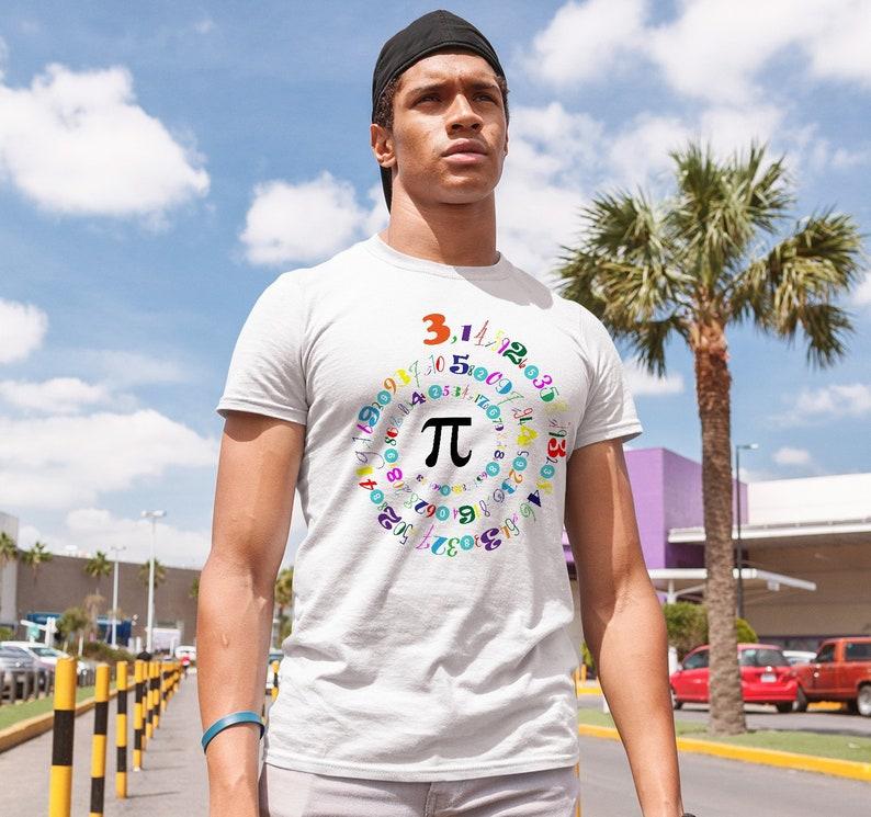 c46927c7b Men's T-Shirt Pi Number Shirt Graphic Spiral Colorful | Etsy