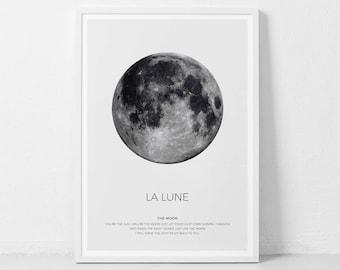 La Lune Print, Moon Poster, La Luna Wall Art, La Lune, Full Moon Print, Moon Art Print, La Lune Printable, Full Moon Printable
