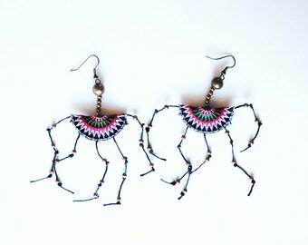 Red Tribal Rope Beads Earrings