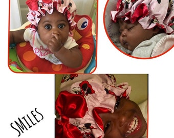 """BABY Satin Bonnets for (Preemie & UP* """"Shipped Everywhere""""  (60 rare fabric pattern to choose from)"""