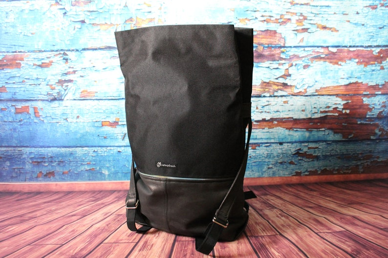 Messenger Backpack Backpack Real Leather Oxford fabric copper black
