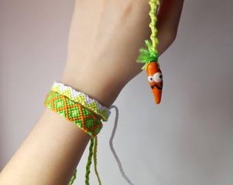 Handmade polymer clay carrot keychain
