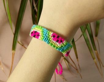 Watermelon print neon pink blue green friendship bracelet