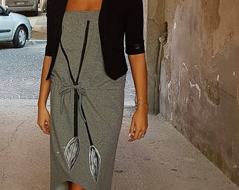 Grey fleece dress, asymmetrical, with drawstring waist, made and hand painted, grey color