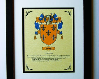 HERALDY COAT of ARMS ~ Gomez Family Crest ~ Framed
