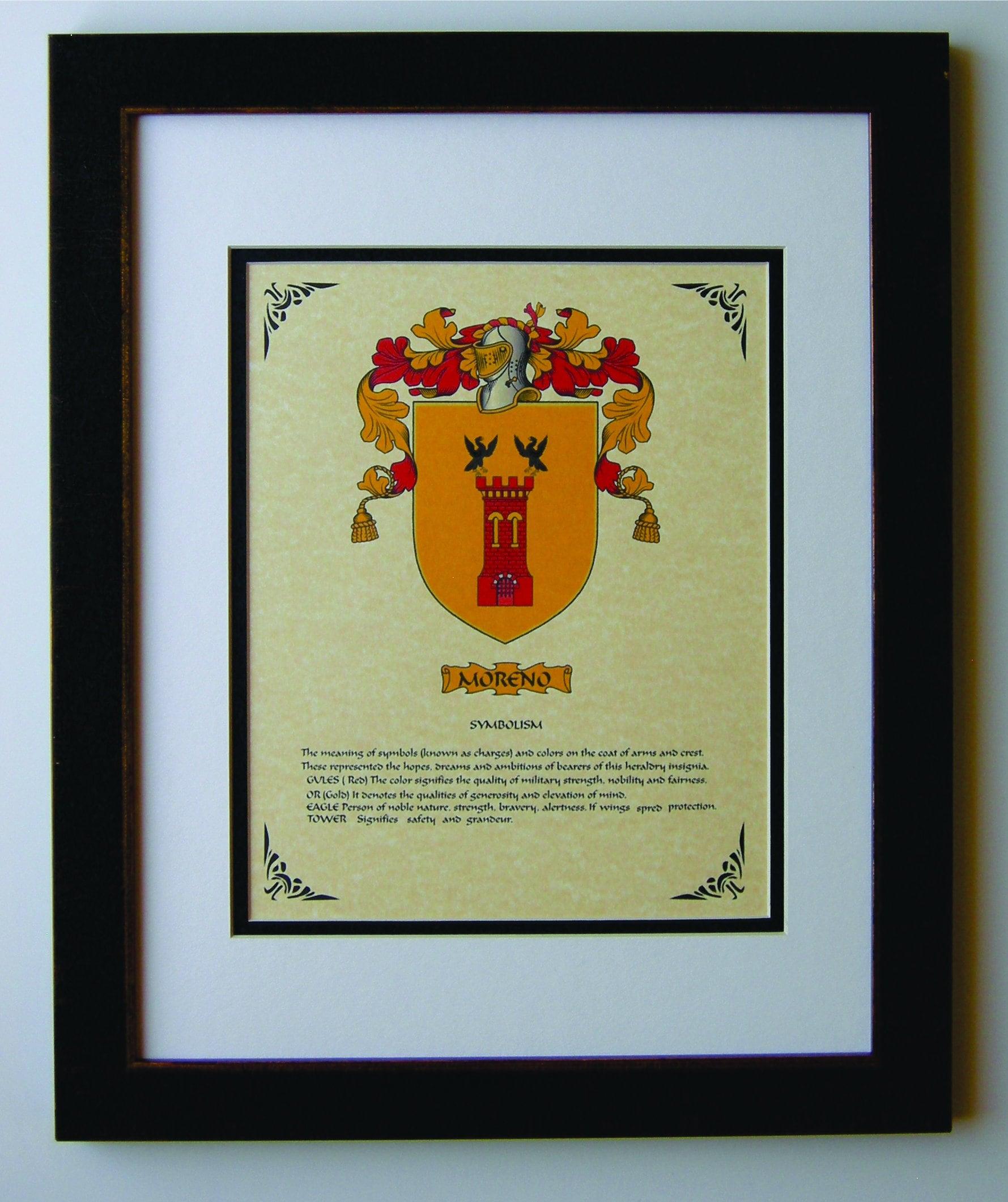 Heraldy Coat Of Arms Moreno Family Crest Framed Etsy