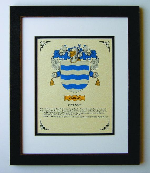 Heraldy Coat Of Arms Vargas Family Crest Framed Etsy
