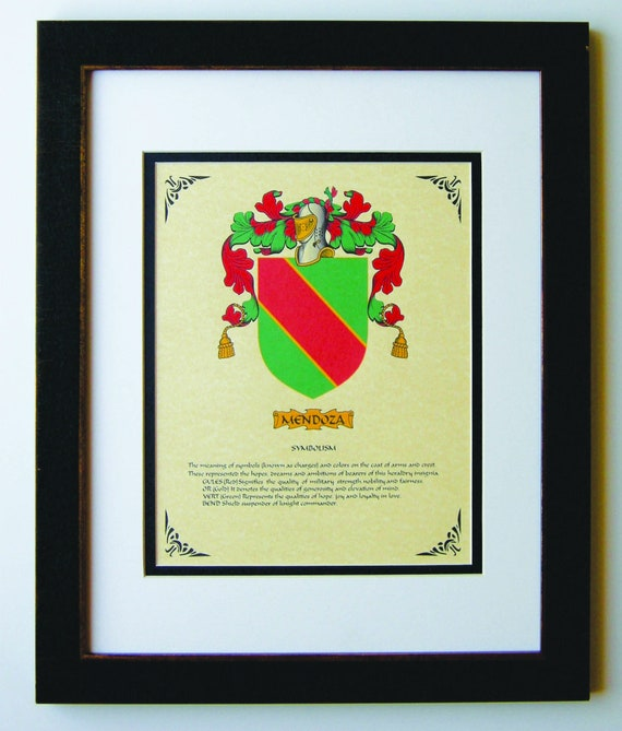 Heraldy Coat Of Arms Mendoza Family Crest Framed Etsy