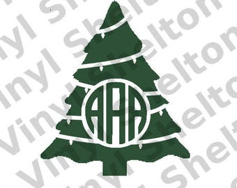 Monogram Christmas Tree Vinyl Design for Cricut, Silhouette, and others. jpg, png, pdf, svg.