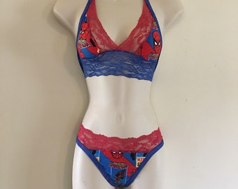 c2522efec7855 Red lace spider-man lingerie set spider man lingerie set spidey lingerie  spider man lingerie spiderman lingerie spider man panties