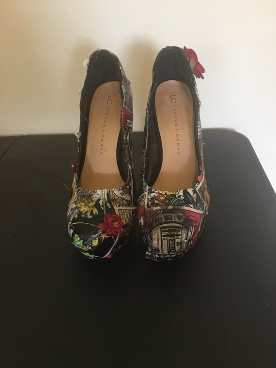 with wa floral comic link Wars and wars pumps book high Star heels customizable other tassle star fabric embellished to and zelda z8Rxq