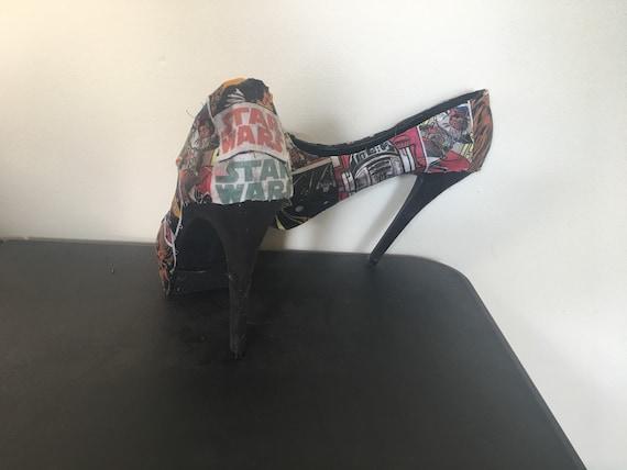 glossy high customizable book heels Wars Womens comic with fabric Star Vibrant vIxqww5F