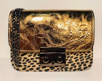GRACE Bronze/Nude/Leopard leather unique bag