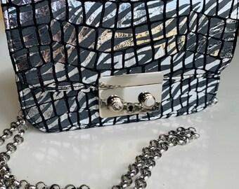 GRACE leather bag Silver Zebra