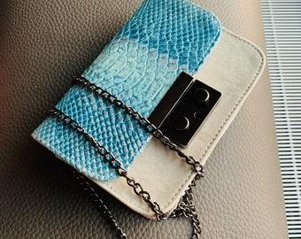 GRACE leather bag Light Blue Python