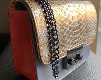 GRACE leather bag Golden Phyton