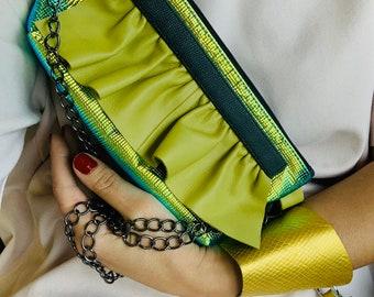 Big WAVE metalic green/yelow leather bag