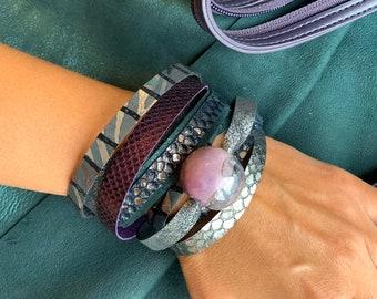 ROYAL Violet leather bracelet