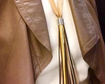 UNIQUE Leather Satin Tassel Necklace