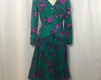 b04584a27c Vtg 80s Rickie Freeman Teri Jon Floral Silk Tea Dress 8 Black Green Fuchsia