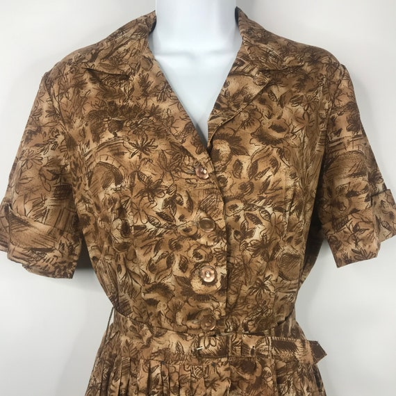 True Vintage 50s Mode O Day Brown Beige Floral Bel