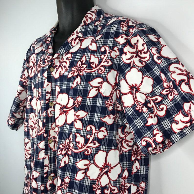 Vintage 90s RJC Red White Blue Plaid Floral Hibiscus Hawaiian Shirt Size XL
