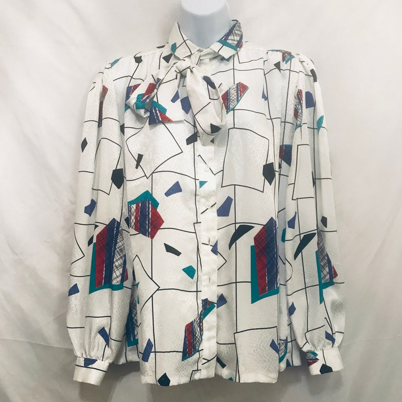 Vtg 80s Gailord White Secretary Blouse Size 10 Snake Print Geometric Pussy Bow Made In The USA