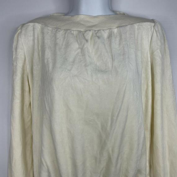 Vintage 70s  Deadstock Allura Ivory White Velour … - image 2