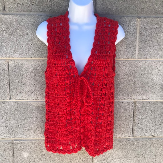 Vintage 70s Tomato Red Crochet Tie Front Festival… - image 1