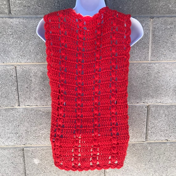 Vintage 70s Tomato Red Crochet Tie Front Festival… - image 5
