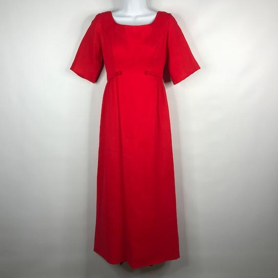 Vintage 60s Handmade Red Chiffon Taffeta Empire Wa
