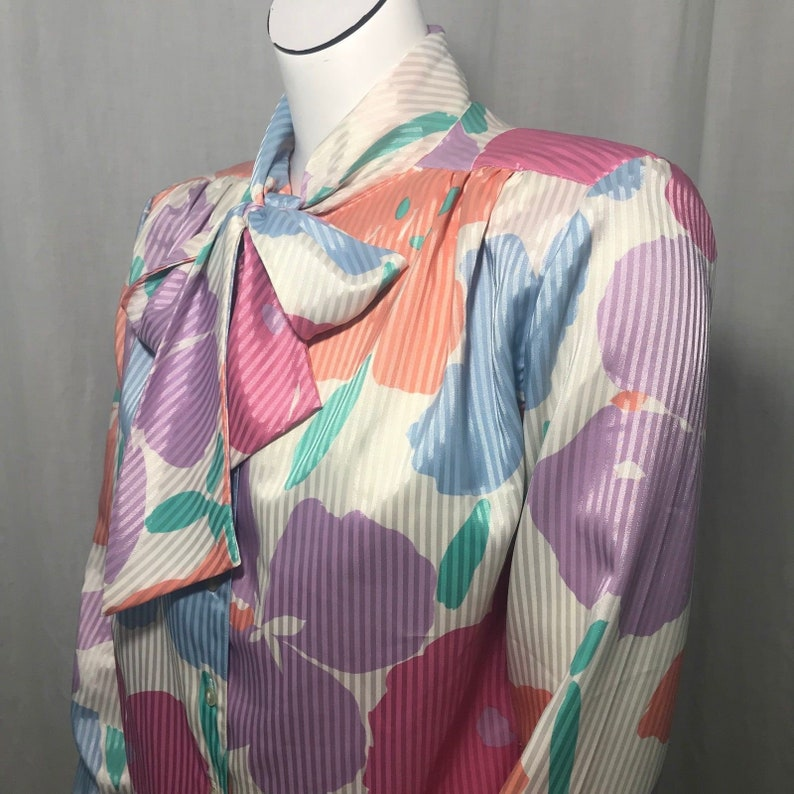 Vtg 70s Pykettes Pastel Floral Striped Secretary Blouse 14 Pussy Bow Poppies