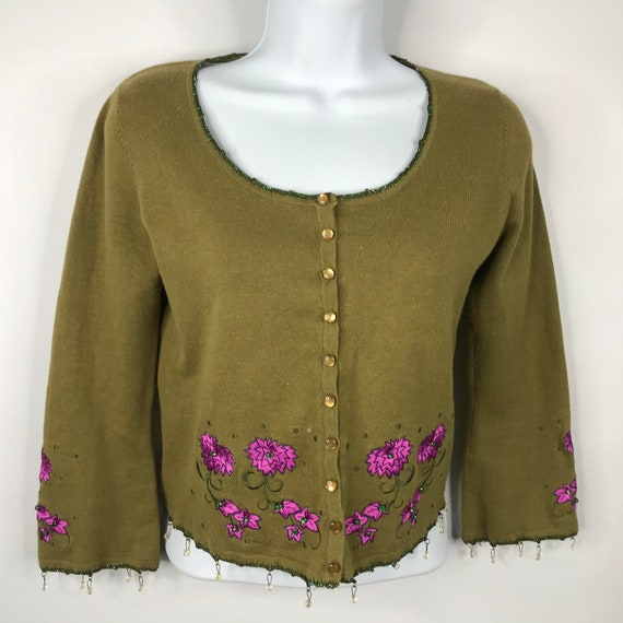Vintage 90s Betsey Johnson Green Floral Beaded Emb