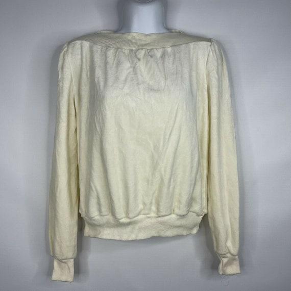 Vintage 70s  Deadstock Allura Ivory White Velour … - image 1