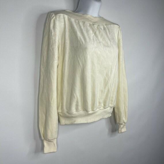 Vintage 70s  Deadstock Allura Ivory White Velour … - image 3